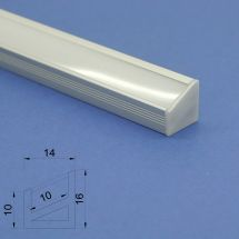 Led Aluminium 2m Corner profile Frosted Lid