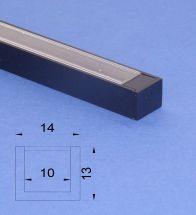 Led Black Aluminium 2m U channel Clear Lid