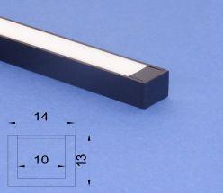 Led Black Aluminium 2m U channel Frosted Lid