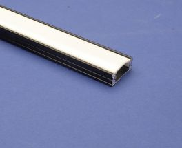 Led Aluminium 2 metre Black profile Clear Lid