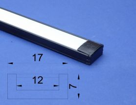 Led Aluminium 2 metre Black profile Opal Lid