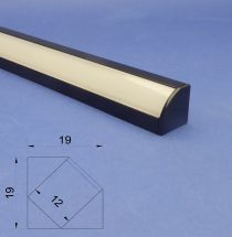 Led Black Aluminium 2 metre Corner profile Frosted Lid